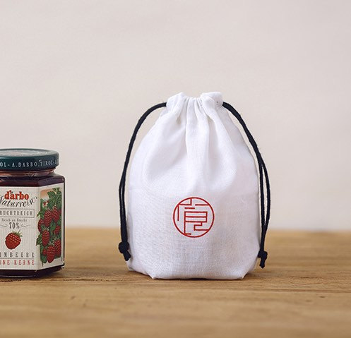 White Printed Cotton Drawstring Pouches
