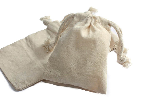 Natural Muslin Bags With Drawstrings