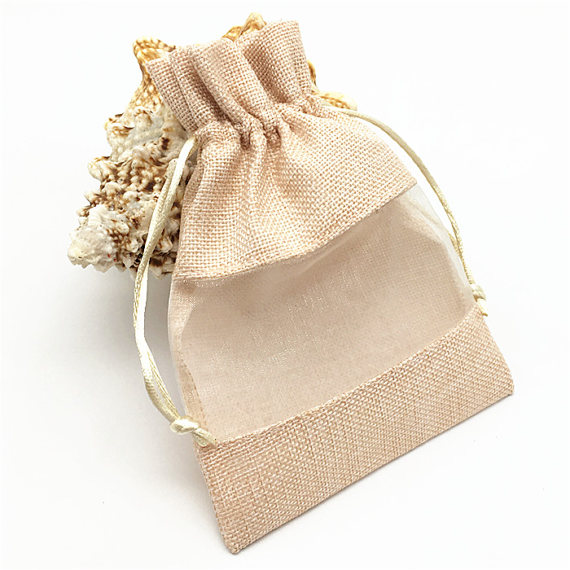 Clear PVC Window Cosmetic Jute Hession Bag