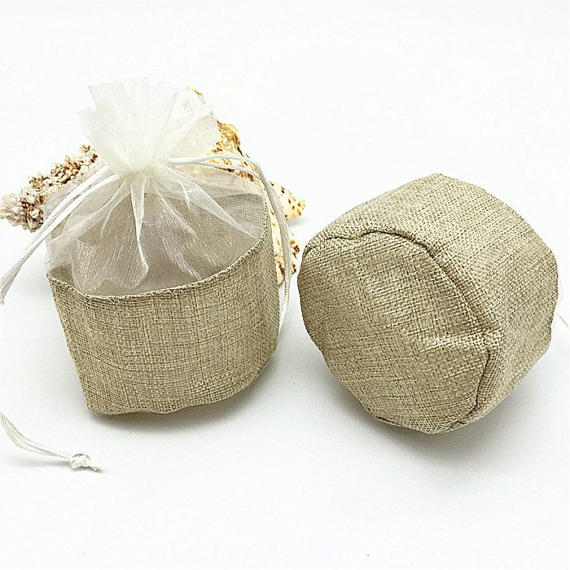 Promotional Wholesale Jute Bag With Organza